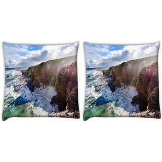 Snoogg Pack Of 2 Malaysia Sea Beaches Digitally Printed Cushion Cover Pillow 10 x 10 Inch