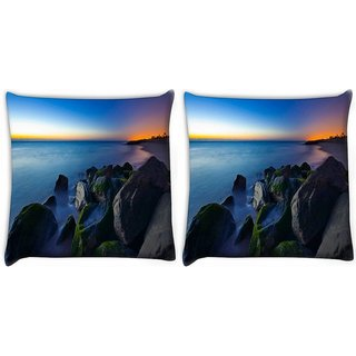 Snoogg Pack Of 2 Nite Beach View Digitally Printed Cushion Cover Pillow 10 x 10 Inch