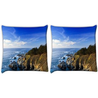 Snoogg Pack Of 2 Ocean Near The Forest Digitally Printed Cushion Cover Pillow 10 x 10 Inch