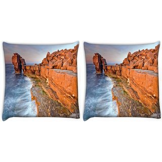 Snoogg Pack Of 2 Brown Mountain Digitally Printed Cushion Cover Pillow 10 x 10 Inch