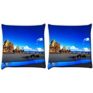 Snoogg Pack Of 2 Blue Color Water Digitally Printed Cushion Cover Pillow 10 x 10 Inch