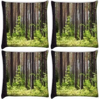 Snoogg Pack Of 4 Growing Trees Digitally Printed Cushion Cover Pillow 10 x 10 Inch