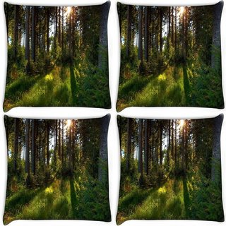 Snoogg Pack Of 4 No Way Forest Digitally Printed Cushion Cover Pillow 10 x 10 Inch
