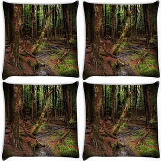 Snoogg Pack Of 4 Dying Forest Digitally Printed Cushion Cover Pillow 10 x 10 Inch