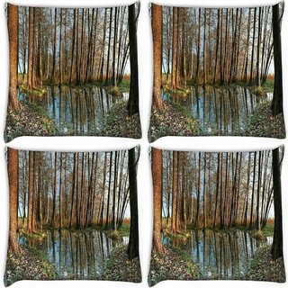 Snoogg Pack Of 4 Small Pond In Forest Digitally Printed Cushion Cover Pillow 10 x 10 Inch