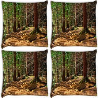 Snoogg Pack Of 4 Abstract Dense Forest Digitally Printed Cushion Cover Pillow 10 x 10 Inch
