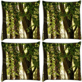 Snoogg Pack Of 4 Abstract Leaves In Tree Digitally Printed Cushion Cover Pillow 10 x 10 Inch