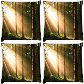 Snoogg Pack Of 4 Falling Sunlight In Forest Digitally Printed Cushion Cover Pillow 10 x 10 Inch
