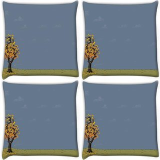 Snoogg Pack Of 4 Yellow Tree Digitally Printed Cushion Cover Pillow 10 x 10 Inch