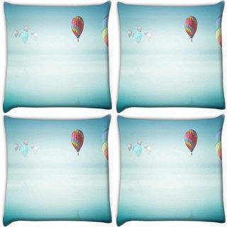 Snoogg Pack Of 4 Colorful Parachute Balloons Digitally Printed Cushion Cover Pillow 10 x 10 Inch