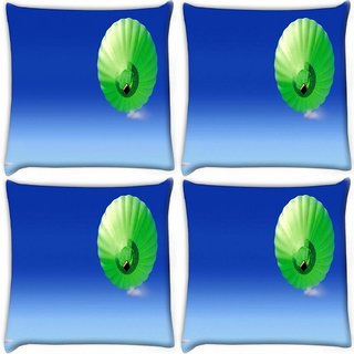 Snoogg Pack Of 4 Green Parachute Balloons Digitally Printed Cushion Cover Pillow 10 x 10 Inch
