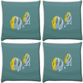 Snoogg Pack Of 4 Tiger Fish Digitally Printed Cushion Cover Pillow 10 x 10 Inch