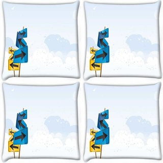 Snoogg Pack Of 4 Left And Right Digitally Printed Cushion Cover Pillow 10 x 10 Inch