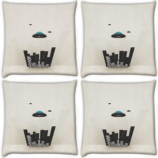 Snoogg Pack Of 4 Spaceship Digitally Printed Cushion Cover Pillow 10 x 10 Inch