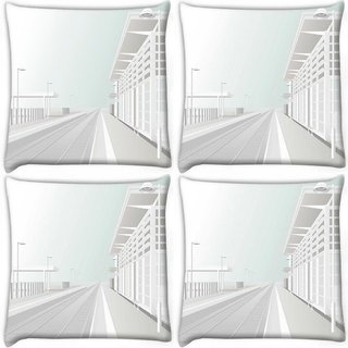 Snoogg Pack Of 4 White Platform Digitally Printed Cushion Cover Pillow 10 x 10 Inch