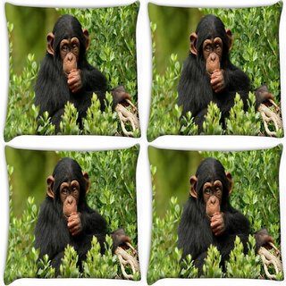Snoogg Pack Of 4 Cute Chimpanese Digitally Printed Cushion Cover Pillow 10 x 10 Inch