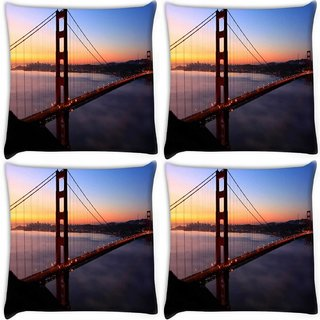 Snoogg Pack Of 4 Sealing At Night Digitally Printed Cushion Cover Pillow 10 x 10 Inch