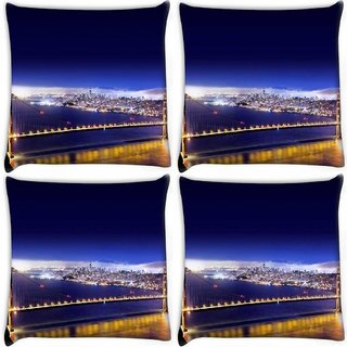 Snoogg Pack Of 4 Dark Blue Sky Digitally Printed Cushion Cover Pillow 10 x 10 Inch
