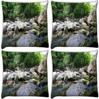 Snoogg Pack Of 4 Big Pebble Stones Digitally Printed Cushion Cover Pillow 10 x 10 Inch