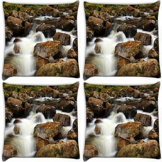 Snoogg Pack Of 4 White Water And Brown Stone Digitally Printed Cushion Cover Pillow 10 x 10 Inch