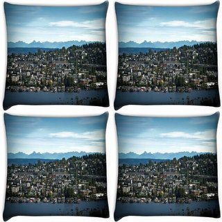 Snoogg Pack Of 4 Abstract City Digitally Printed Cushion Cover Pillow 10 x 10 Inch