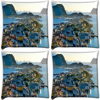 Snoogg Pack Of 4 Many Houses Digitally Printed Cushion Cover Pillow 10 x 10 Inch