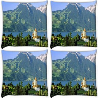Snoogg Pack Of 4 Yellow Roof Digitally Printed Cushion Cover Pillow 10 x 10 Inch