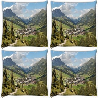 Snoogg Pack Of 4 Houses And Trees Digitally Printed Cushion Cover Pillow 10 x 10 Inch