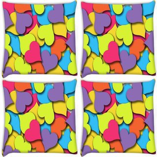 Snoogg Pack Of 4 Multiple Hearts Digitally Printed Cushion Cover Pillow 10 x 10 Inch