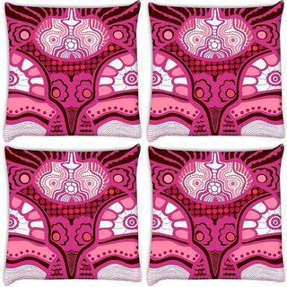 Snoogg Pack Of 4 Abstract Pink Design Digitally Printed Cushion Cover Pillow 10 x 10 Inch
