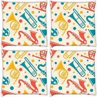 Snoogg Pack Of 4 Music Instruments Digitally Printed Cushion Cover Pillow 10 x 10 Inch