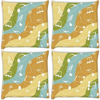 Snoogg Pack Of 4 White Music Digitally Printed Cushion Cover Pillow 10 x 10 Inch