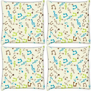 Snoogg Pack Of 4 Multicolor Music Digitally Printed Cushion Cover Pillow 10 x 10 Inch