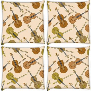 Snoogg Pack Of 4 Violin Digitally Printed Cushion Cover Pillow 10 x 10 Inch