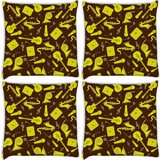 Snoogg Pack Of 4 Yellow Music Set Digitally Printed Cushion Cover Pillow 10 x 10 Inch