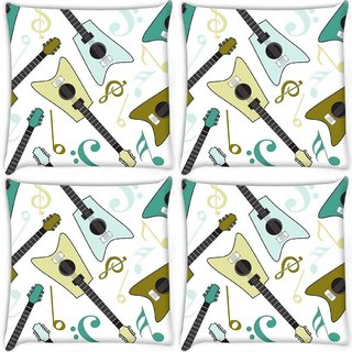 Snoogg Pack Of 4 Guitars Digitally Printed Cushion Cover Pillow 10 x 10 Inch