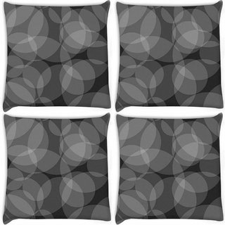 Snoogg Pack Of 4 Grey Circles Black Pattern Digitally Printed Cushion Cover Pillow 10 x 10 Inch