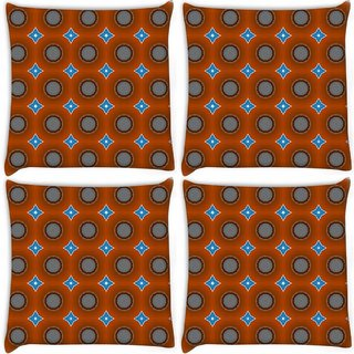 Snoogg Pack Of 4 Blue Stars Brown Pattern Digitally Printed Cushion Cover Pillow 10 x 10 Inch