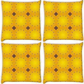 Snoogg Pack Of 4 Black Abstract Yellow Pattern Digitally Printed Cushion Cover Pillow 10 x 10 Inch