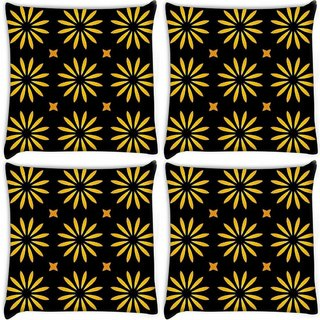Snoogg Pack Of 4 Yellow Floral Digitally Printed Cushion Cover Pillow 10 x 10 Inch