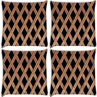 Snoogg Pack Of 4 Wood Cage Digitally Printed Cushion Cover Pillow 10 x 10 Inch