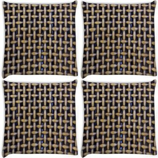 Snoogg Pack Of 4 Zig Zag Blocks Digitally Printed Cushion Cover Pillow 10 x 10 Inch