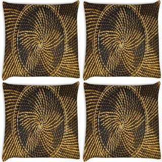 Snoogg Pack Of 4 Yellow Star Digitally Printed Cushion Cover Pillow 10 x 10 Inch