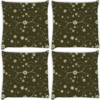 Snoogg Pack Of 4 Cream Flowers Digitally Printed Cushion Cover Pillow 10 x 10 Inch