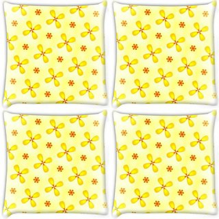 Snoogg Pack Of 4 Yellow Flower Digitally Printed Cushion Cover Pillow 10 x 10 Inch