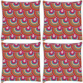 Snoogg Pack Of 4 Mixed Colors Pattern Digitally Printed Cushion Cover Pillow 10 x 10 Inch