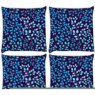 Snoogg Pack Of 4 Blue Leaves Digitally Printed Cushion Cover Pillow 10 x 10 Inch