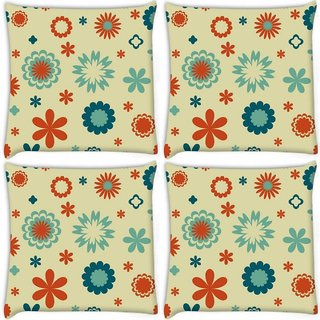 Snoogg Pack Of 4 Cream Pattern Flowers Digitally Printed Cushion Cover Pillow 10 x 10 Inch