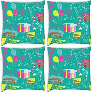 Snoogg Pack Of 4 Birthday Gift Digitally Printed Cushion Cover Pillow 10 x 10 Inch