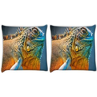 Snoogg Pack Of 2 Chameleon Digitally Printed Cushion Cover Pillow 10 x 10 Inch